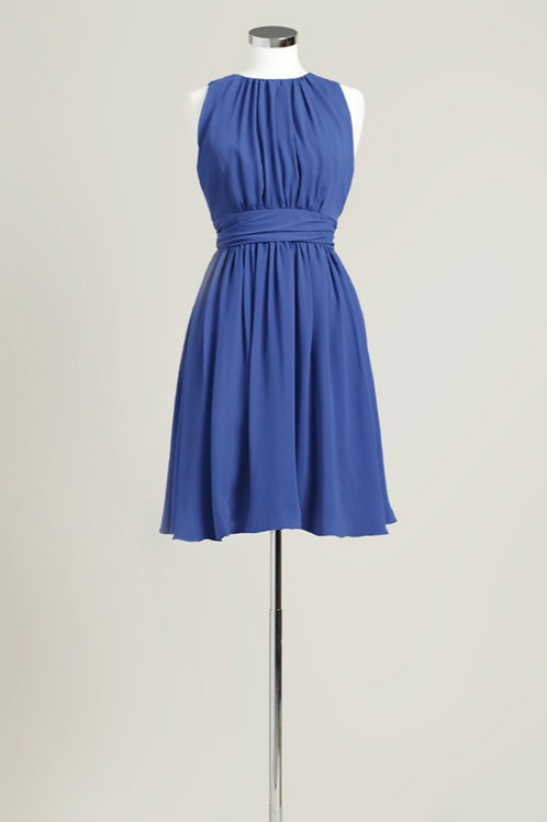 Royal blue chiffon bridesmaid dress knee length jewel neck