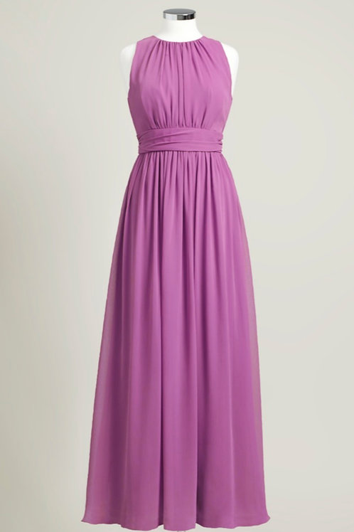 Pink modest dress floor length bridesmaid