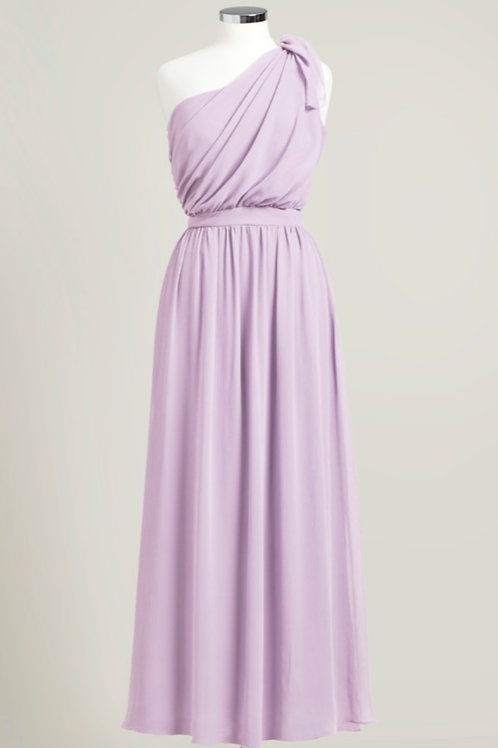 Lavender purpler one shoulder floor length bridesmaid dress used