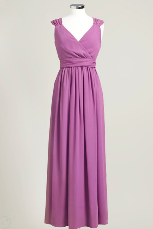 Floor length cheap raspberry pink wrap bridesmaid dress chiffon used