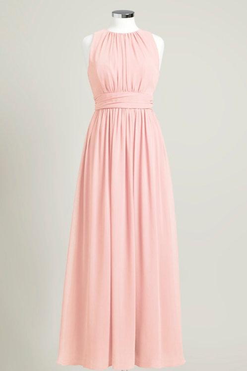 Soft pink cheap bridesmaid dress sweetheart floor length jewel neck