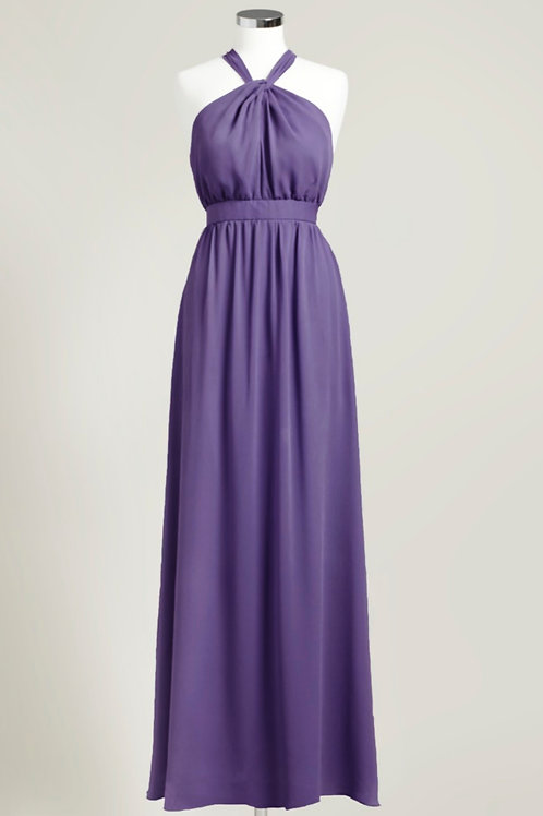 Deep purple chiffon bridesmaid dress halter floor length