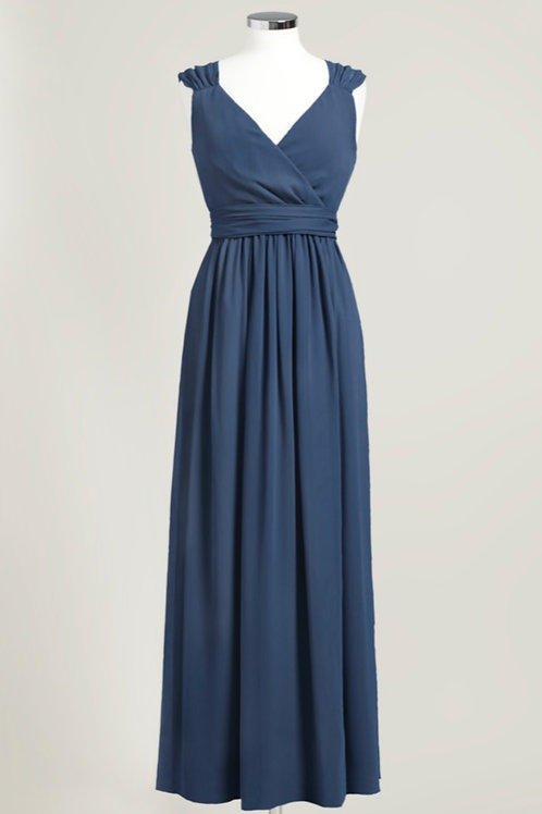 Cheap bridesmaid dress navy blue floor length wrap chiffon