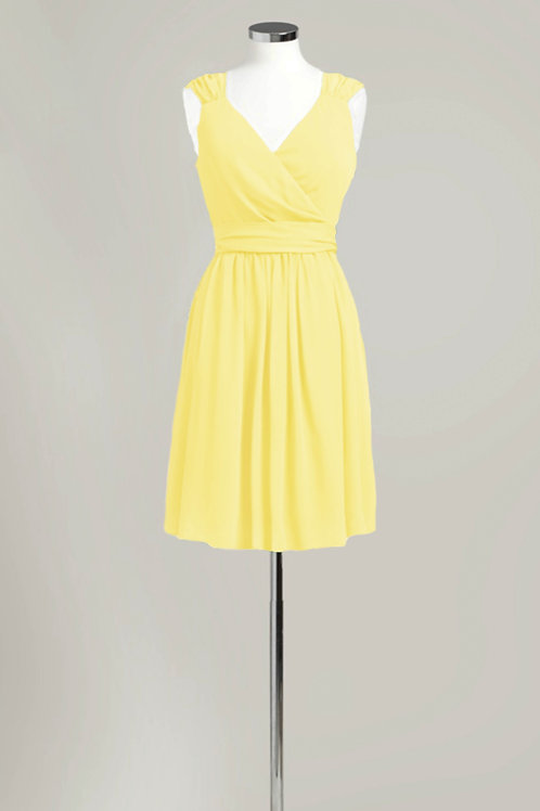Cheap yellow bridesmaid dress used chiffon knee length wrap