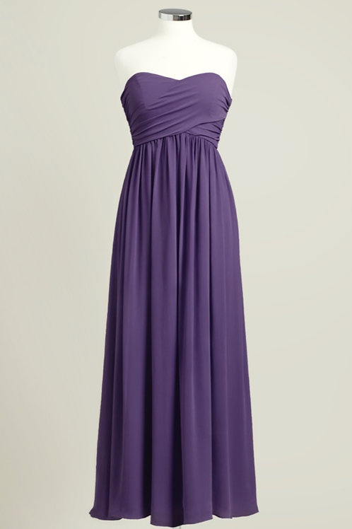 Deep purple sweetheart floor length bridesmaid dress used chiffon