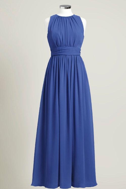 Royal blue jewel neck floor length bridesmaid dress used chiffon