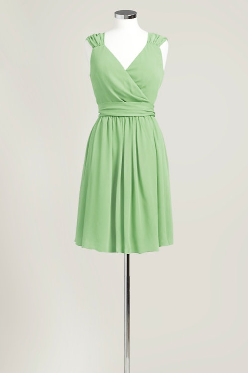 Sage light green bridesmaid dress knee length chiffon wrap used