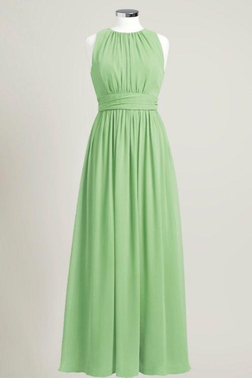 Sage green jewel neck bridesmaid dress floor length chiffon