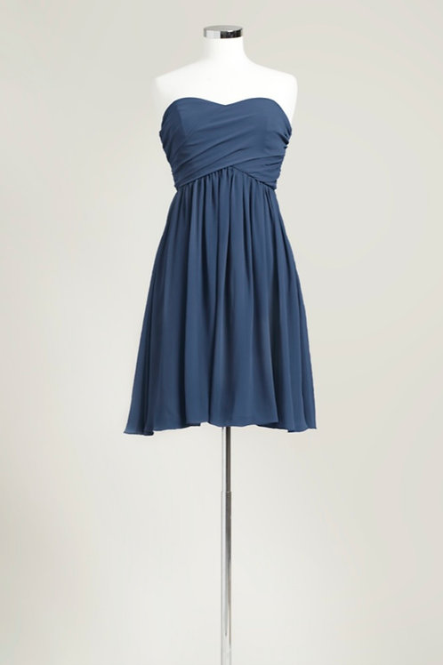 Cheap navy blue sweetheart knee length bridesmaid dress chiffon used