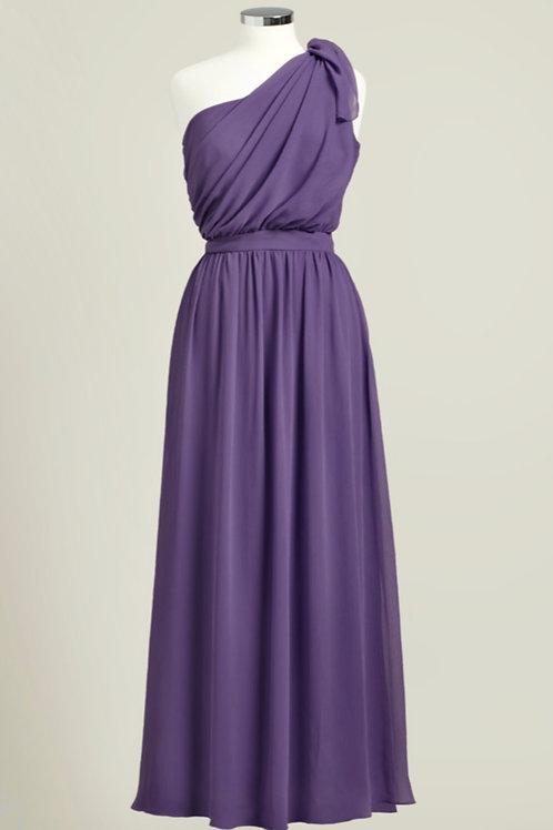 Deep purple one shoulder floor length bridesmaid dress chiffon