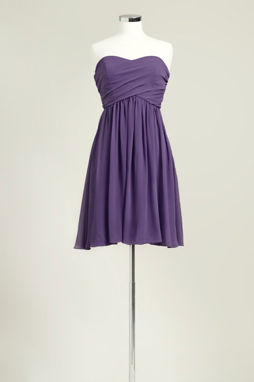 Deep purple bridesmaid dress knee length sweetheart chiffon