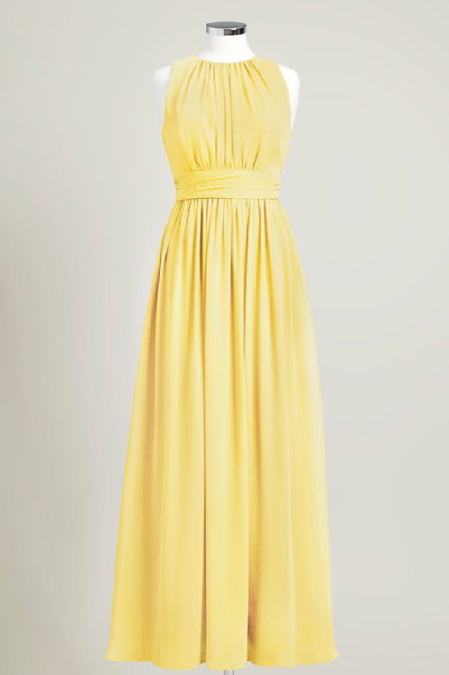Yellow chiffon bridesmaid dress jewel neck floor length used