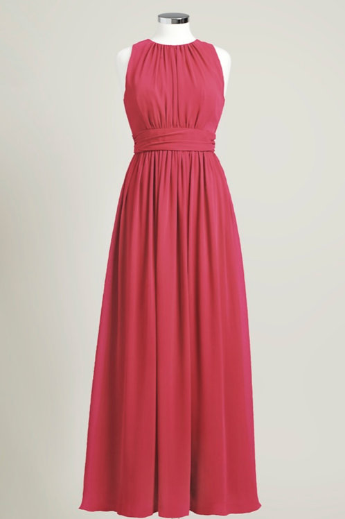 Apple red jewel neck floor length bridesmaid dress used chiffon