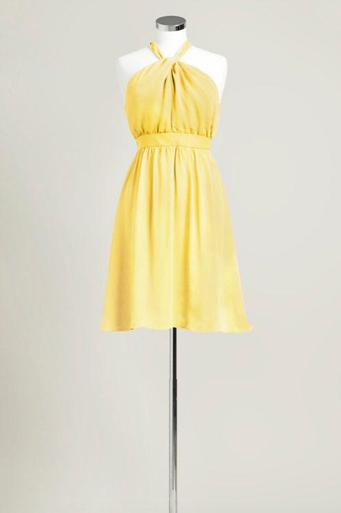 Yellow halter knee length bridesmaid dress chiffon used