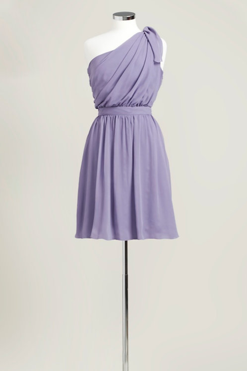 Dusty purple one shoulder chiffon bridesmaid dress knee length used