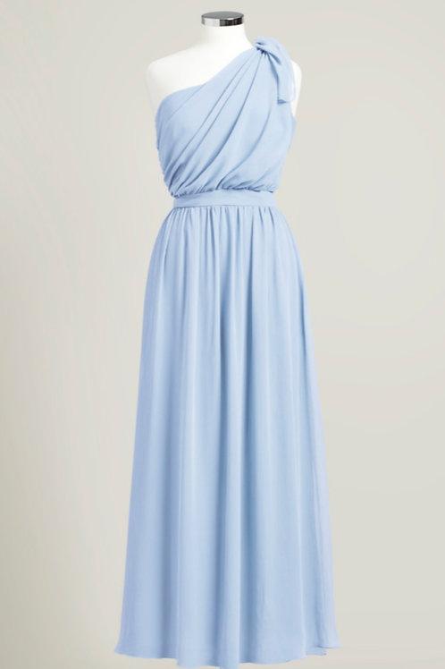 Ice blue one shoulder bridesmaid dress floor length used