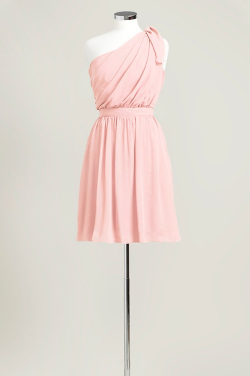 Soft pink bridesmaid dress cheap one shoulder knee length used chiffon