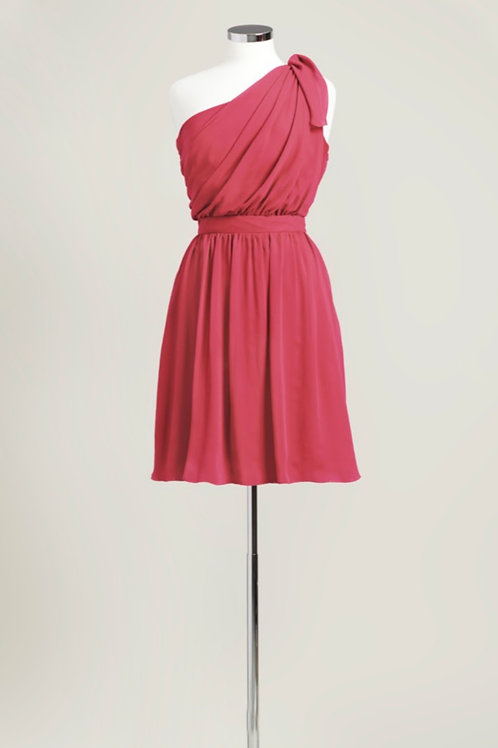Apple red one shoulder bridesmaid dress chiffon knee length used