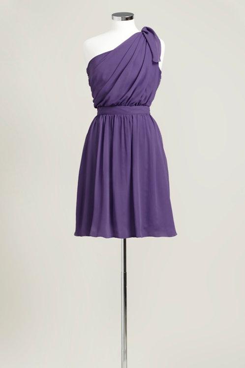 purple one shoulder knee length bridesmaid dress