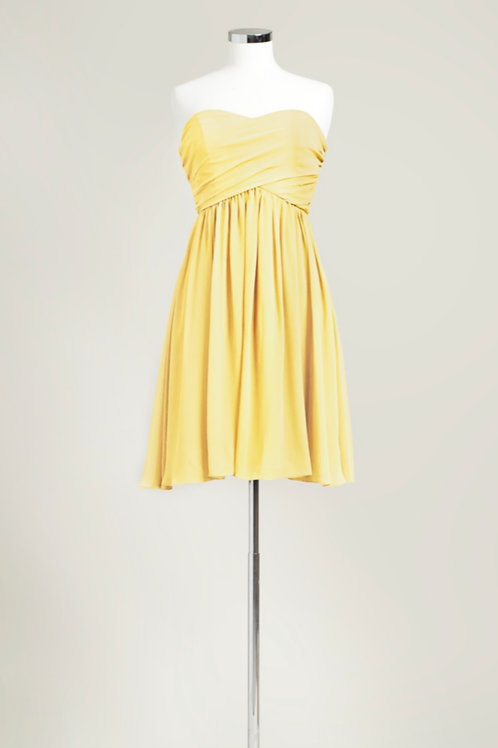 Yellow bridesmaid dress sweetheart knee length chiffon used