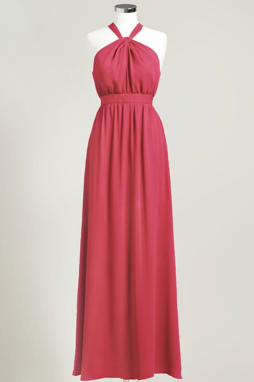 Apple red halter bridesmaid dress cheap floor length chiffon used