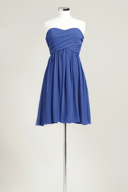 Royal blue sweetheart bridesmaid dress knee length chiffon used