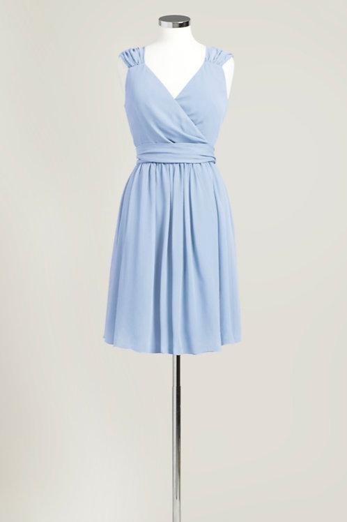 Ice blue light blue bridesmaid dress wrap knee length chiffon used