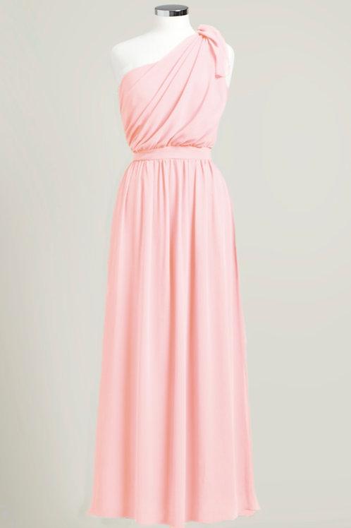 Soft pink cheap bridesmaid dress one shoulder floor length chiffon used