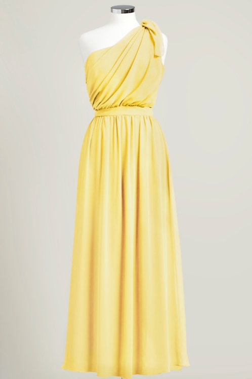 Yellow bridesmaid dress one shoulder floor length chiffon used