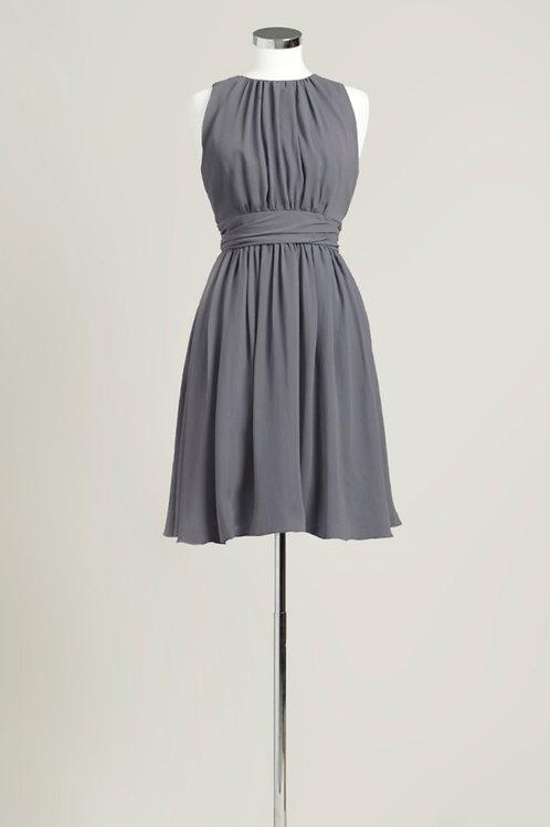 Charcoal grey bridesmaid dress knee length chiffon jewel neck