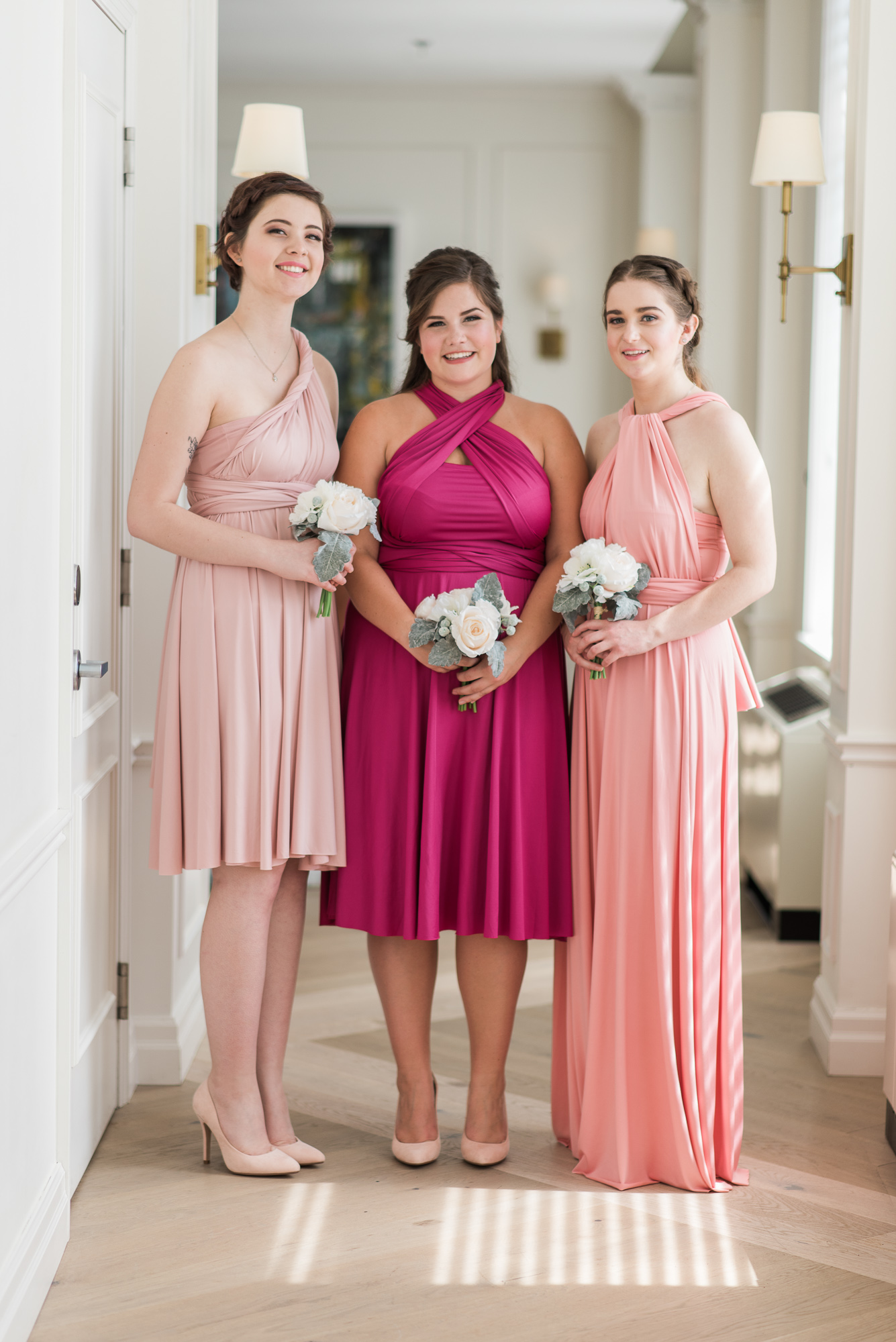 Infinity knee length floor length used bridesmaid dress pink