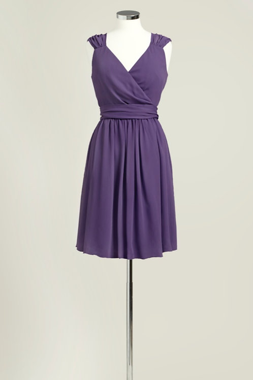 Cheap purple bridesmaid dress used knee length chiffon wrap