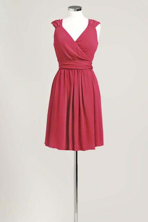 Apple red bridesmaid dress wrap knee length chiffon used