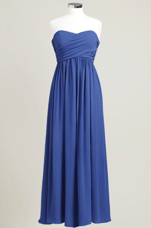 Royal blue sweetheart bridesmaid dress used floor length chiffon