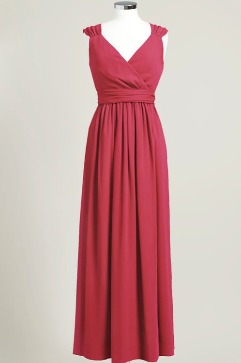 Cheap bridesmaid dress apple red wrap floor length chiffon used