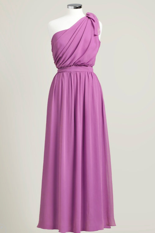 Raspberry pink bridesmaid dress one shoulder floor length chiffon used