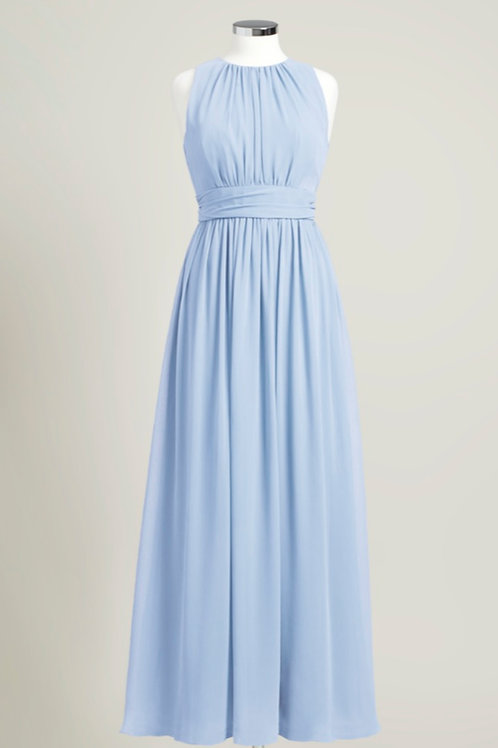 Ice blue jewel neck floor length bridesmaid dress chiffon