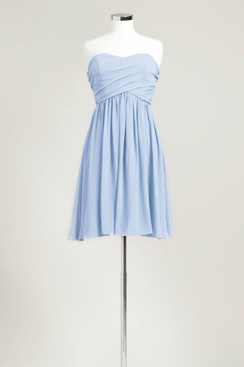 Light ice blue cheap bridesmaid dress sweetheart knee length chiffon used