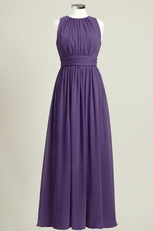 Deep purple chiffon bridesmaid dress floor length jewel neck used