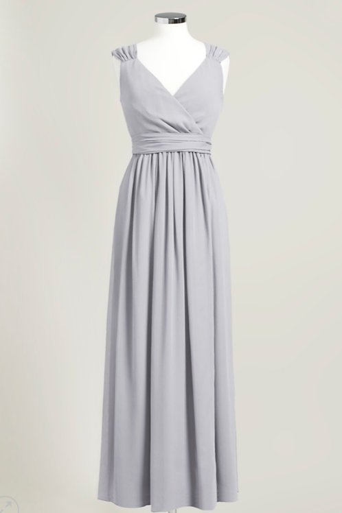 Cheap floor length silver grey bridesmaid dress wrap chiffon used
