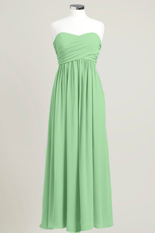 Dusty sage light green sweetheart bridesmaid dress strapless floor length chiffon