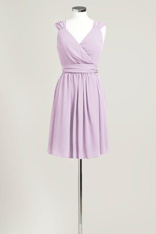 Lavender light purple bridesmaid dress cheap knee length chiffon used
