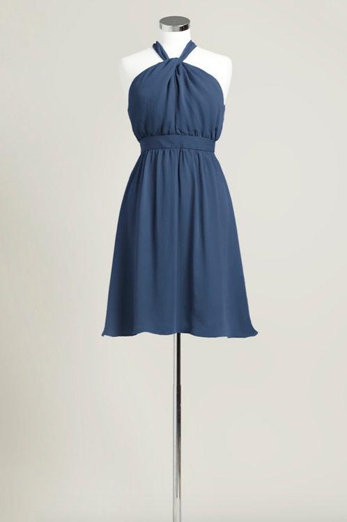 Navy blue halter chiffon knee length bridesmaid dress used