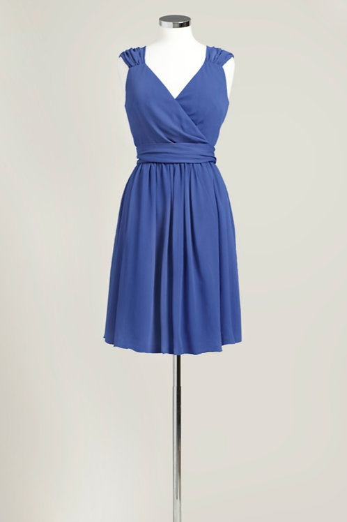 Royal blue bridesmaid dress knee length chiffon wrap used