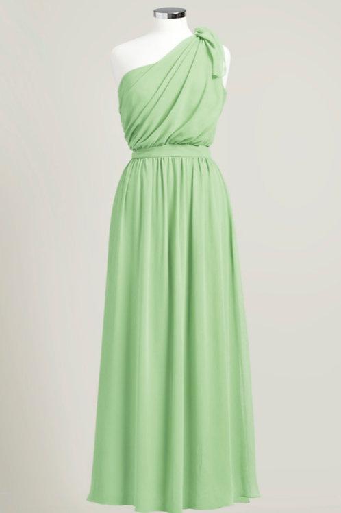 Sage green one shoulder bridesmaid dress floor length chiffon