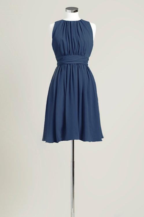 Navy blue bridesmaid dress knee length chiffon jewel neck