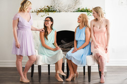 Classic halter strapless chiffon dress knee length purple teal blue peach