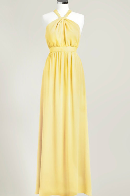 Yellow bridesmaid dress chiffon halter floor length