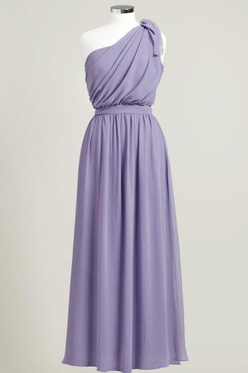 Dusty purple bridesmaid dress one shoulder floor length