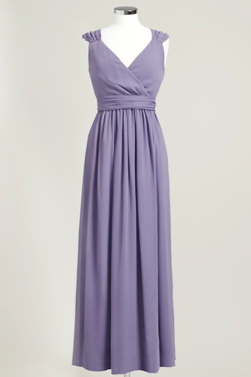 Cheap bridesmaid dress dusty purple floor length wrap used